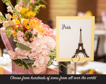 Travel Table Number Wedding Decor International World Cities Landmarks Hundreds of Icons to Choose from Pick Color and Font