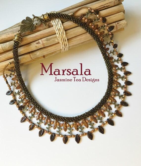 Marsala Embellished Beaded Kumihimo Collar, Beaded Kumihimo Necklace, Bib Necklace