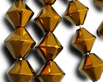 6 pcs 10 mm Glass Beads Metallic Bronze Bicone Faceted Vintage Czech B-169