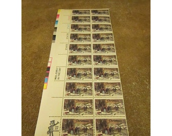 Currier and Ives Winter Pastime 1976 Vintage Christmas US Postage Stamp – 2nd Version– Scott 1703 -Sheet of 20 Unused Holiday Postage Stamps