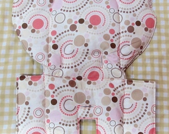 Evenflo high chair pad, high chair cover, baby chair replacement pad, baby accessory, child care, feeding chair pad, salmon/tan circle dots