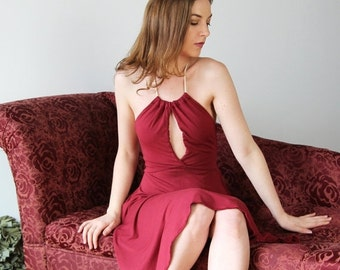 womens halter dress in bamboo jersey - GEM  range - made to order