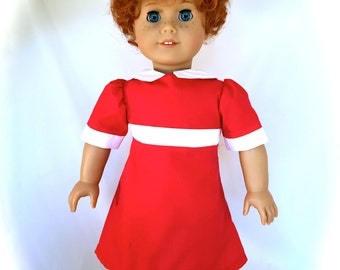 American Girl Doll Dressed as Annie with a New Curly Red Wig OOAK