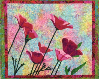 Pink Poppies Original Art Quilt by Lenore Crawford