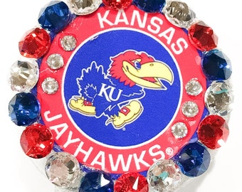University of Kansas Jayhawks Swarovski Crystal Embellished Retractable Name Tag Holder ID Badge Reel