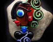 Lady Achieng, born when the sun shines, beautiful Faces/ Freak heads, Modern Glass Art, Unique, Statement focal Bead - by Michou P. Anderson