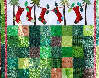 MarveLes CHRISTMAS STOCKING Holiday Woodsy Traditional Wall Hanging Red Green Silver Lime