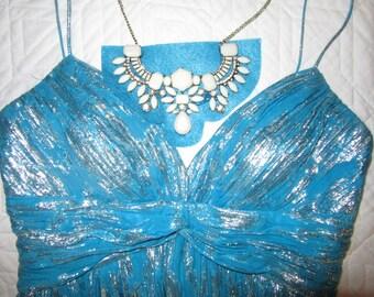 Costume Egypt cleo Cleopatra dress size 6 women Halloween costume turquoise silver silk chiffon dress