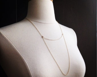 Medium Gold FIlled Arc Necklace on Gold Filled Chain