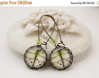 VACATION SALE Modern Dragonfly Earrings. Gift for her under 25 usd
