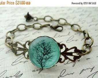 Aqua Winter Tree Bracelet, Black branches, gift for her under 25 usd