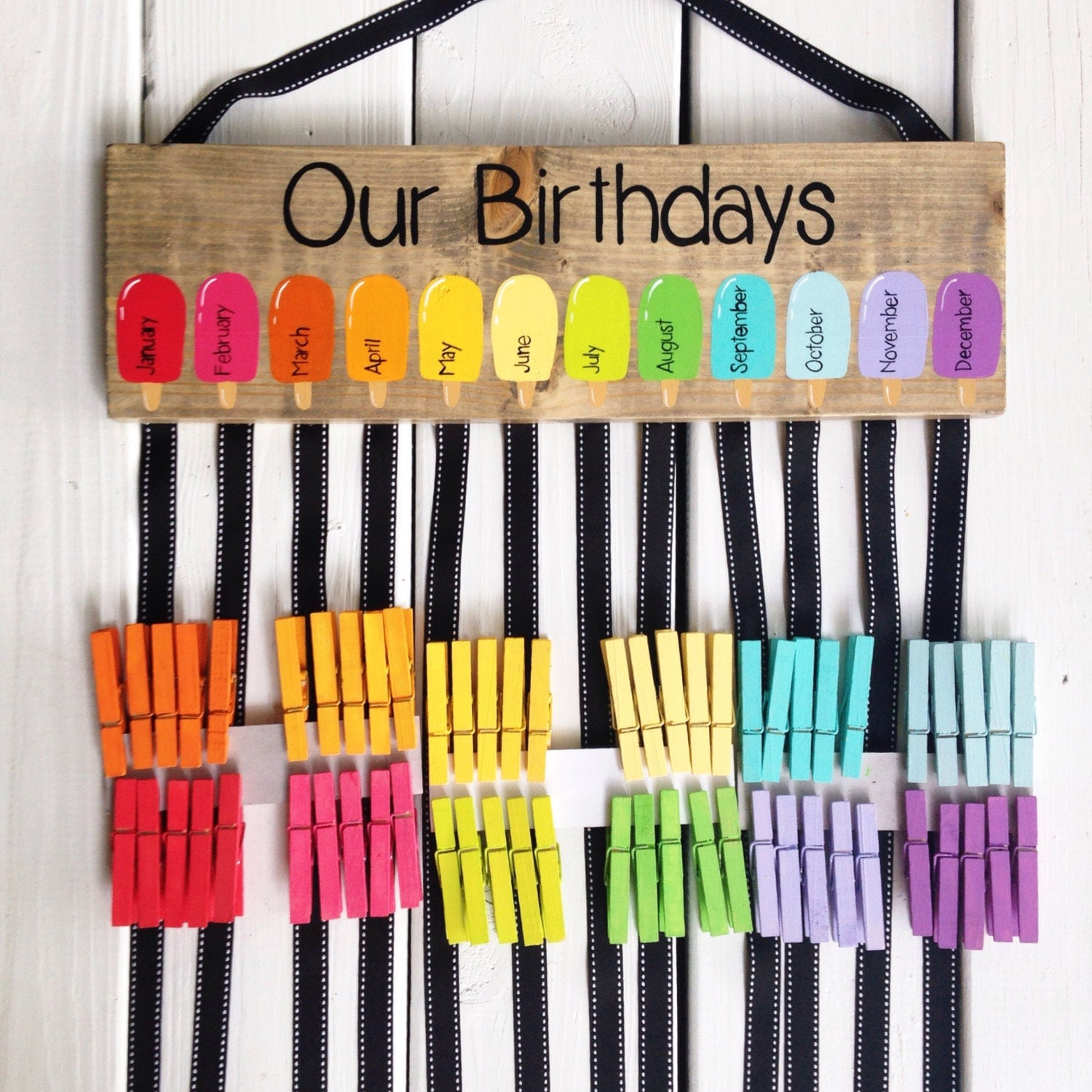 Classroom Birthday Ideas For A Teacher ~ Birthday chart class birthdays classroom decor rainbow