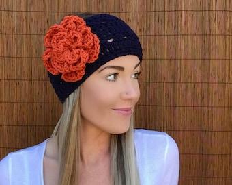 Denver Broncos Flower Headband Hair Accessory Band Colorado Fashion Navy Blue Orange w/ Vegan Coconut Buttons Woman Football Accessories
