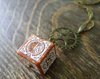 D6 steampunk dice pendant steam punk necklace steampunk jewelry clockwork dungeons and dragons game gamer geeky polyhedral toothed bar