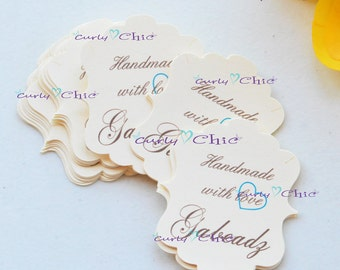 """48 Personalized Rectangle Bracket III Size 1.75"""" x 2"""" -Custom Rectangle Bracket Labels -Paper Bracket tags -Paper die cuts -Cardstock Labels"""