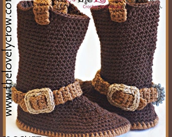 Cowboy Boots Crochet Pattern (Women Sizes)