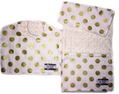 Camden's Collection, Minky Baby Bib and Burp Cloth Set, Baby Bib and Burp, Gold Polka Dots on Cream
