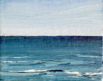 Meditation, Framed 5 x 7,  20 x 25 cm. Oil painting on canvas board by Yvonne Wagner. Seascape. Mer. Meer. Welle. Vague. Waves.