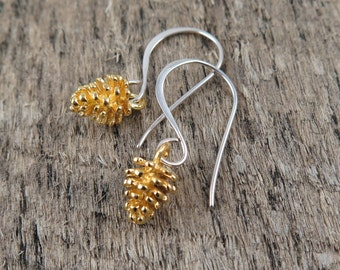 Gold Pinecone Earrings Silver Pine Cone Earrings Pine Cone Earrings Pinecone Jewelry Woodland Jewelry Pine Cone Jewelry Gift for Her