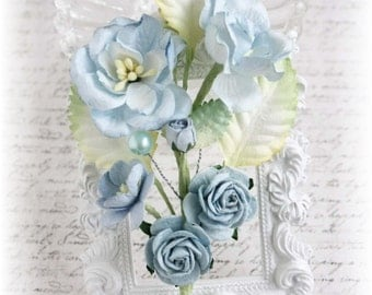 Dusty Blue Handmade Vine Embellishments for Scrapbooking, Cardmaking, Mini Album, Altered Art,
