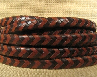 Braided Licorice Leather - Brown and Cognac - Choose Your Length