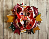 Girls Thanksgiving Turkey Bow- Boutique Bow- Fall Autumn- Baby Girl Bow- Toddler Bow- Ready To Ship