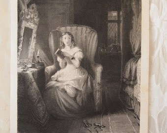 The Ghost Story Antique Engraving