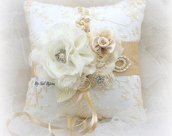 Wedding Ring Pillow, Ivory, Tan, Beige, Gold, Champagne, Lace Ring Pillow, Vintage Wedding, Gatsby, Elegant, Bridal, Crystals, Pearls
