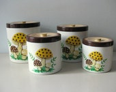 Vintage Merry Mushrooms canister set Sears 1976 canisters