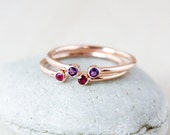 ON SALE Dual Birthstone Ring - AAA Gemstones - Rose Gold