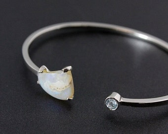 ON SALE Rough Opal and Sky Blue Topaz Bangle - 925 Stering Silver