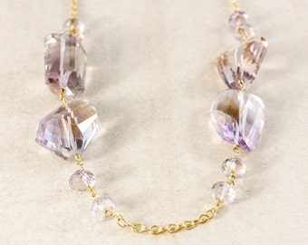25% OFF Beaded Purple Ametrine Necklace – Gold Filled