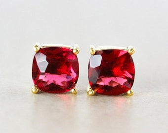 25% OFF Red Ruby Quartz Studs - Cushion - Gold Plated