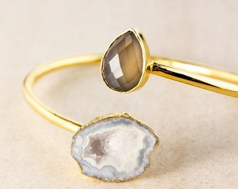20% OFF Grey Chalcedony and Agate Geode Bangle – Gold Plated