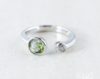 Green Tourmaline & Diamond Dual Ring - 925 Sterling Silver