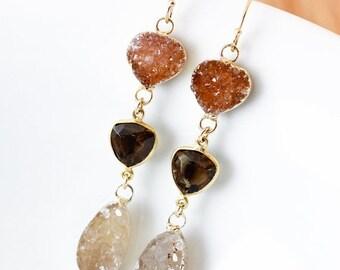 50% OFF Gold Brown Druzy, Smokey Quartz, & Vanilla Druzy Earrings - Shades of Autumn - 14K GF