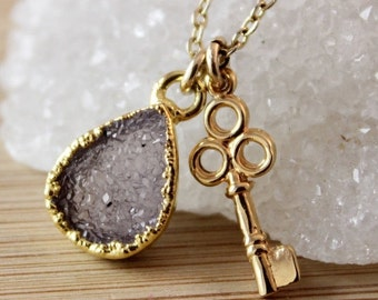 50 OFF SALE Mauve Druzy and Key Charm Necklace - Key Jewelry - Gifts for Her
