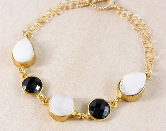 50% OFF SALE - Black Onyx and White Druzy Bracelet – 14K Gold Filled