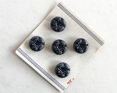 Vintage Flower Buttons - Dark Charcoal Gray Plastic  - Vintage 1950s 1960s