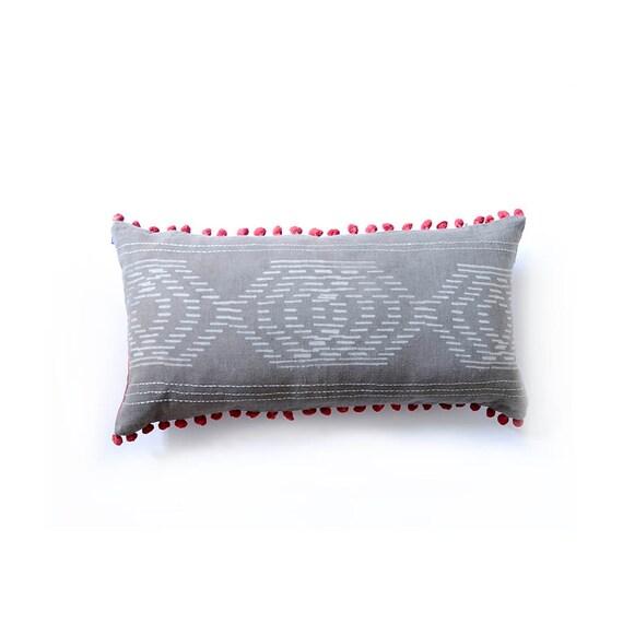 long pillow, throw pillows decorative pillow grey pillow bohemian home decor lumbar pillow bed toss Pillow covers gift - SHAMA PILLOW COVER