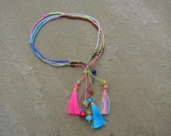 Summer Boho Chic - 3  Beaded Tassel  Bracelet  - Pink/Gold/Yellow Glass Beads - Friendship Stackable Bracelet ~
