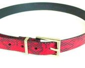 Red Leather Belt - Python Calfskin Leather - Snakeskin Pattern - Italian - Calvin Klein - Size Medium - Silvertone Square Buckle - Recycled