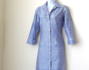 Shirtdress - Royal Blue - Gingham Check - Silk - Long Sleeve - Light Jacket - J McLaughlin - Preppy - Tailored - Size 2 - Recycled - Classic