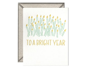 To A Bright Year letterpress card
