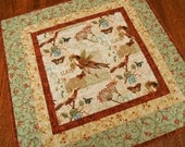 Quilted Table Topper with Birds Butterflies and Flowers in Rust Blue Brown and Green, Square Table Mat, Bird Table Topper, French Theme