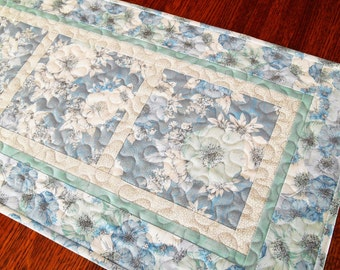 Blue and White Quilted Table Runner, Floral Table Runner, Feminine and Romantic, Cottage Chic Home Decor