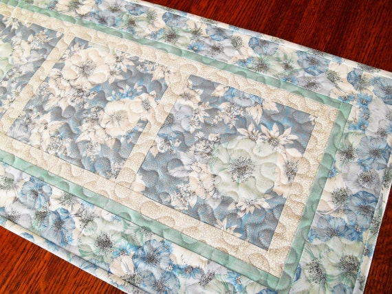 Blue and White Quilted Table Runner, Floral Table Runner, Feminine and Romantic, Cottage Chic Home Decor, Quilted Table Topper Mat