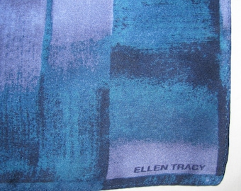 Vintage Square Silk Ellen Tracy Scarf - Geometric Square/Basketweave Pattern in Dark Blue, Purple - Small, Pochette Size