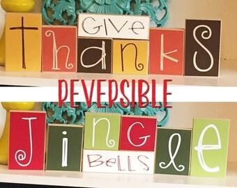 Thanksgiving & Christmas Reversible Blocks- Fall Decor, Christmas Decor Autumn Decor Christmas Blocks Give Thanks Blocks Jingle Bell Blocks