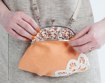 purse with vintage lace, apricot orange